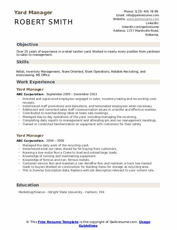 Yard Manager Resume example