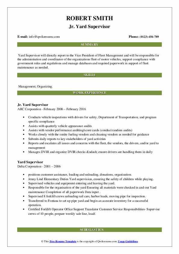 yard supervisor resume samples
