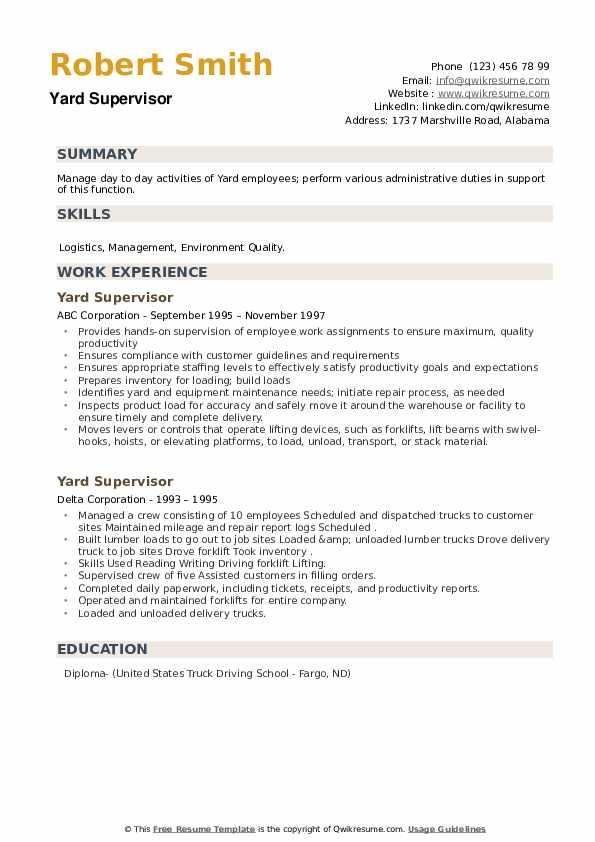 Yard Supervisor Resume example
