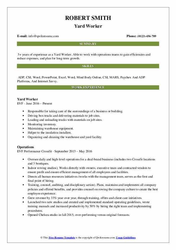 Yard Worker Resume Samples | QwikResume
