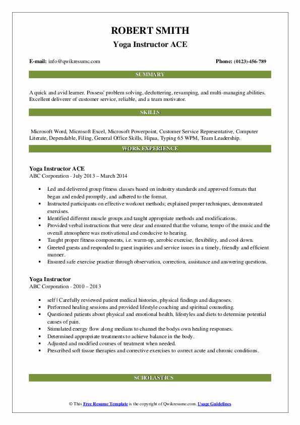 Yoga Instructor ACE Resume Template