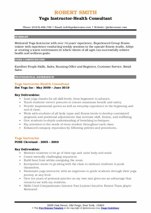 Yoga Instructor-Health Consultant Resume Format