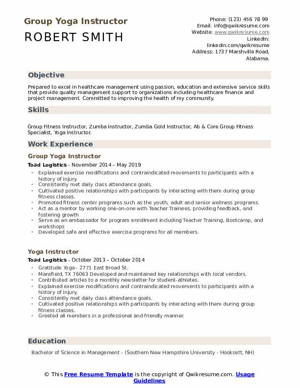 Group Yoga Instructor Resume Template