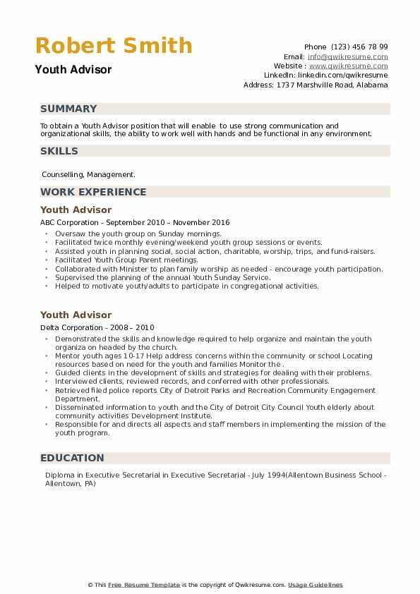 Youth Advisor Resume example