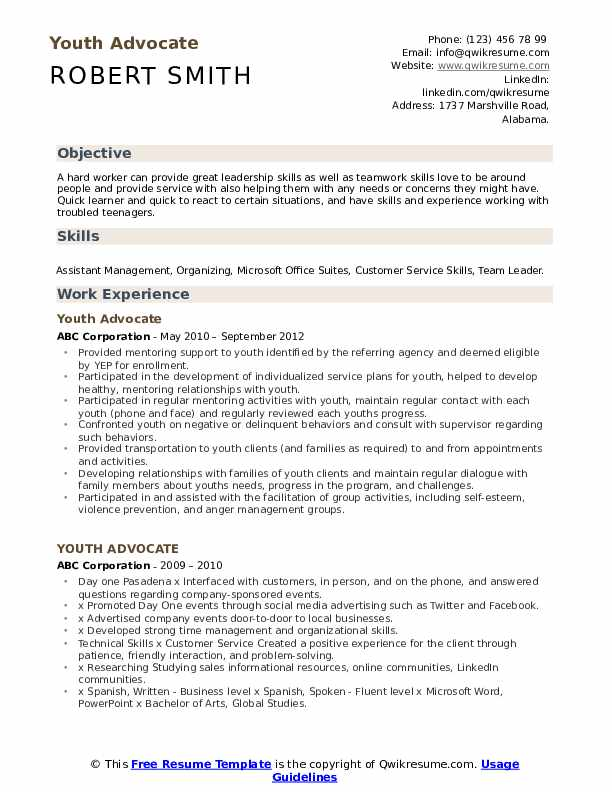Youth Advocate Resume Model