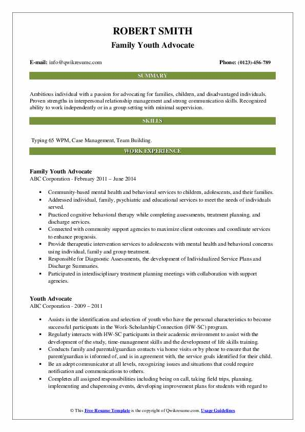 Family Youth Advocate Resume Example
