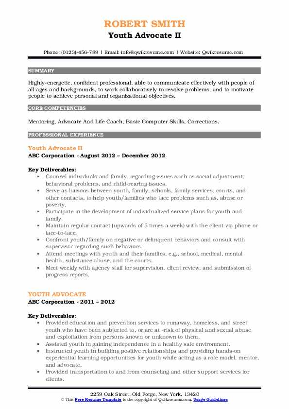 Youth Advocate II Resume Template