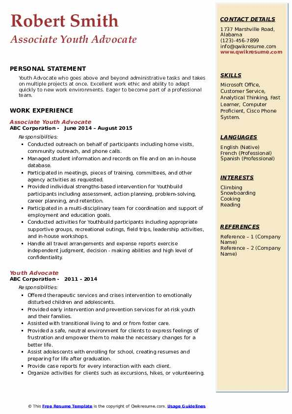 Associate Youth Advocate Resume Example