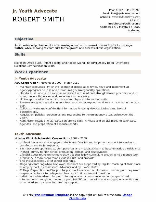 Jr. Youth Advocate Resume Sample