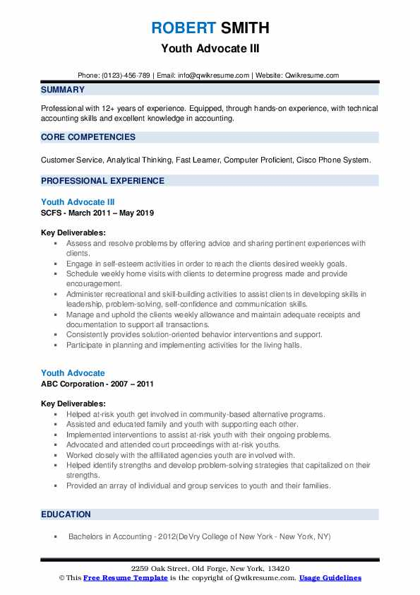 Youth Advocate III Resume Format