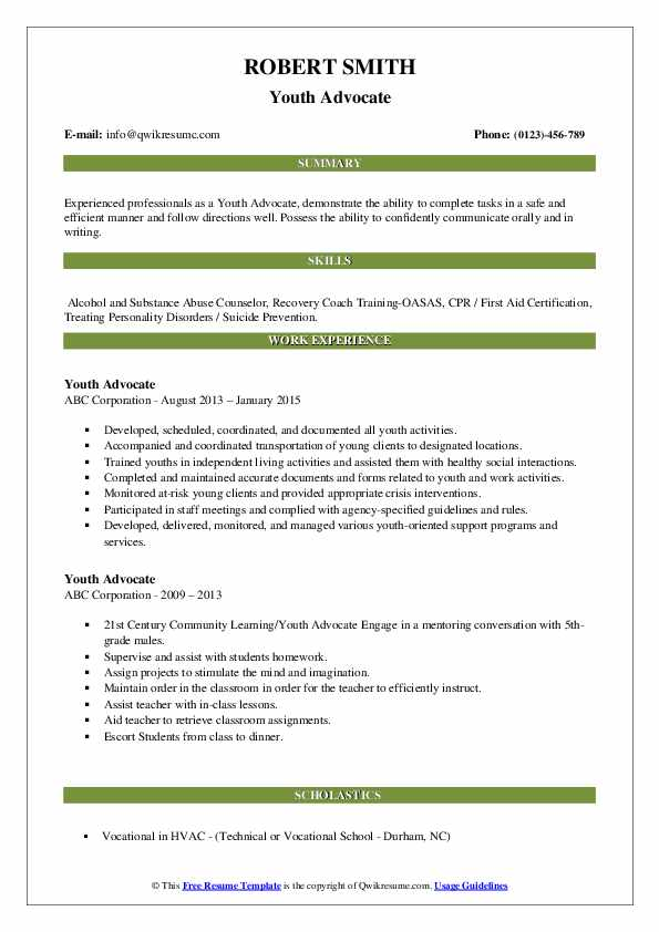 youth advocate resume samples