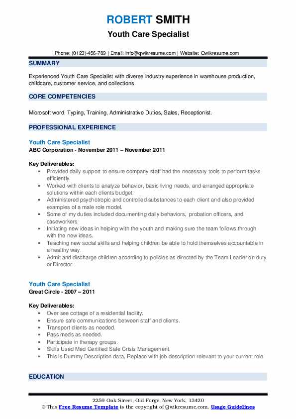 Youth Care Specialist Resume example