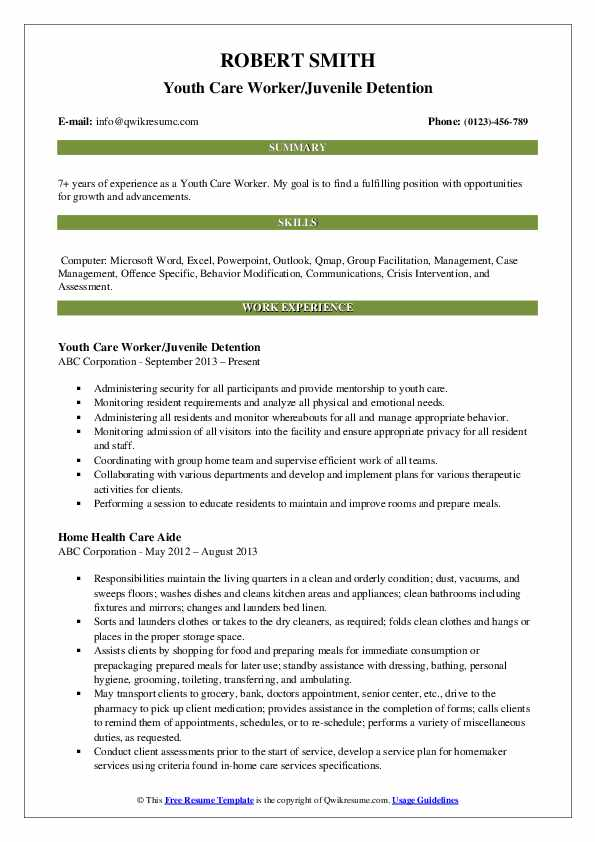 Youth Care Worker/Juvenile Detention Resume Sample