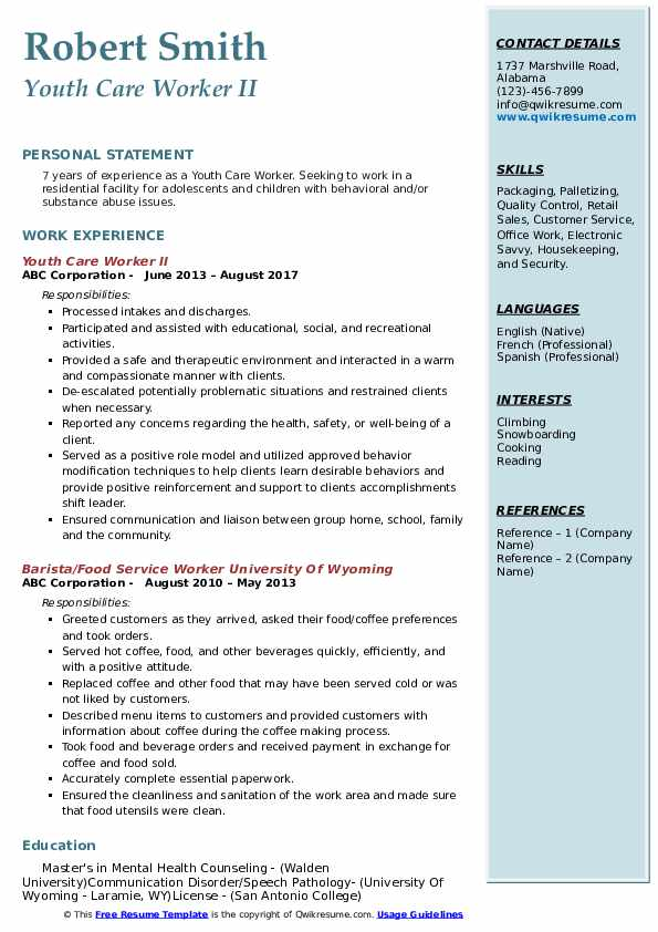 Youth Care Worker II Resume Model