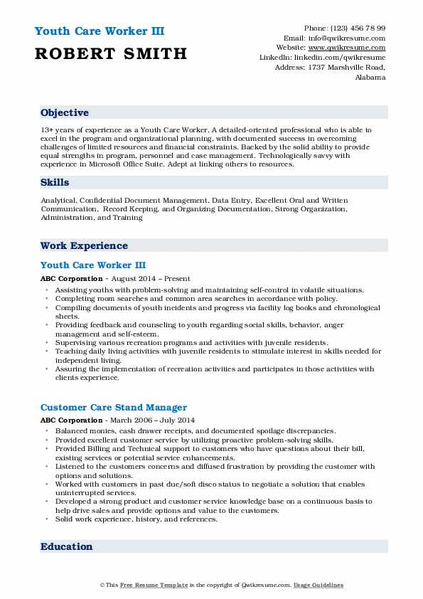 Youth Care Worker III Resume Template