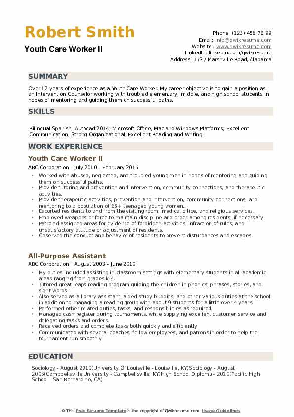 Youth Care Worker Resume Samples
