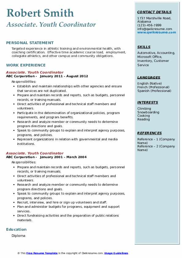 youth coordinator resume samples
