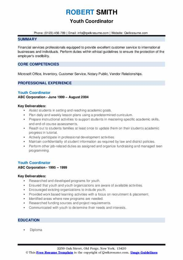Youth Coordinator Resume example