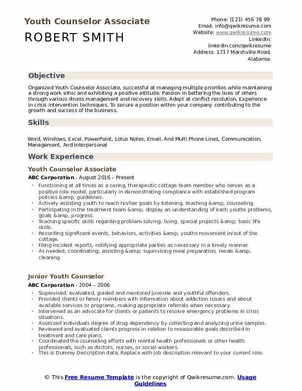 Youth Counselor Associate Resume Example