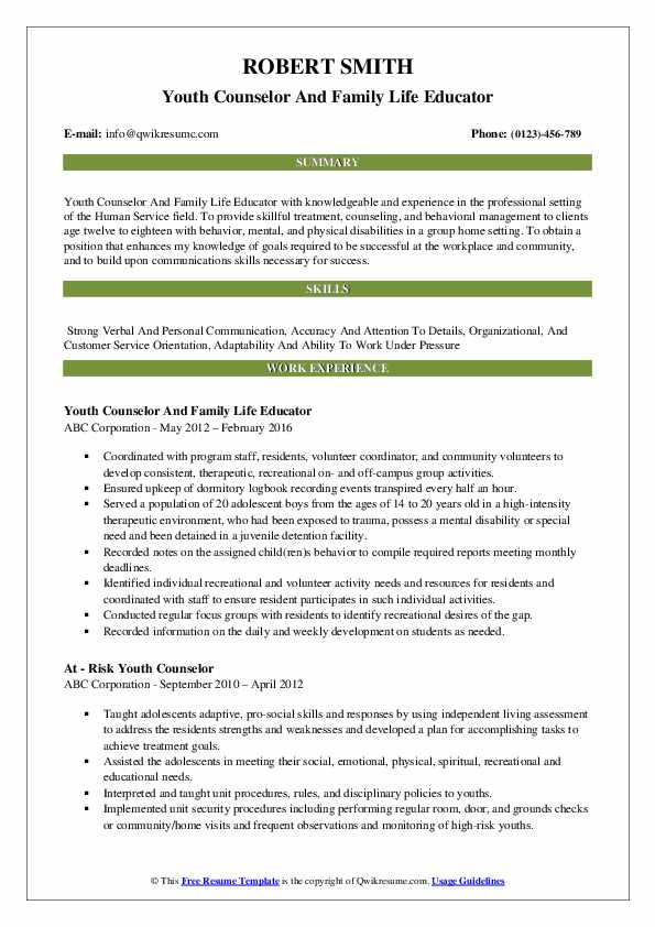 Youth Counselor And Family Life Educator Resume Model