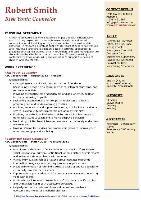 Risk Youth Counselor Resume Sample