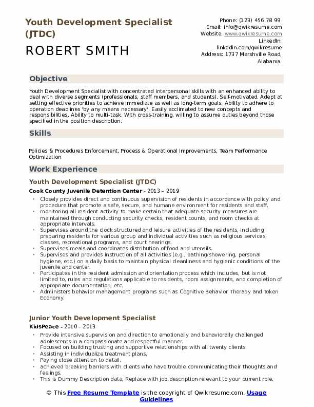 Youth Development Specialist Resume Samples | QwikResume