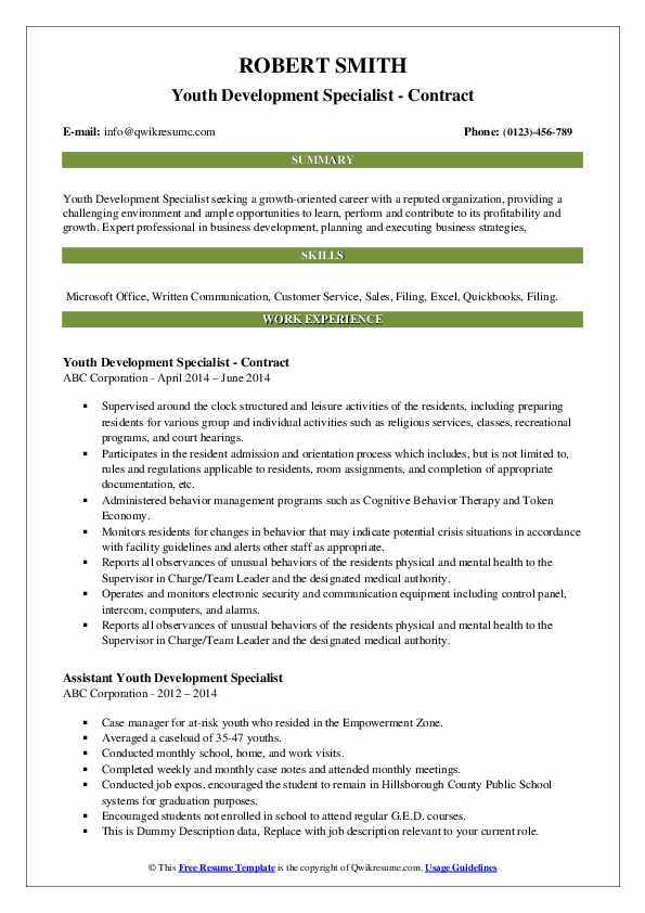 Youth Development Specialist - Contract Resume Format