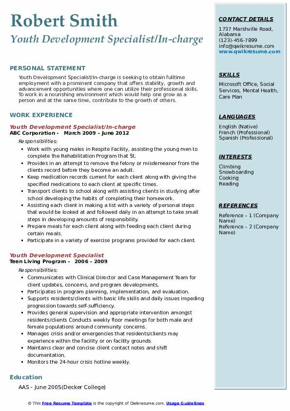 Youth Development Specialist/In-charge Resume Sample