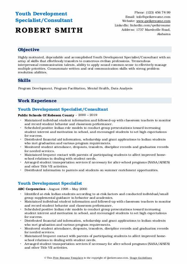 Youth Development Specialist/Consultant Resume Model