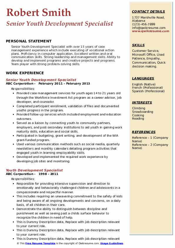 Senior Youth Development Specialist Resume Template