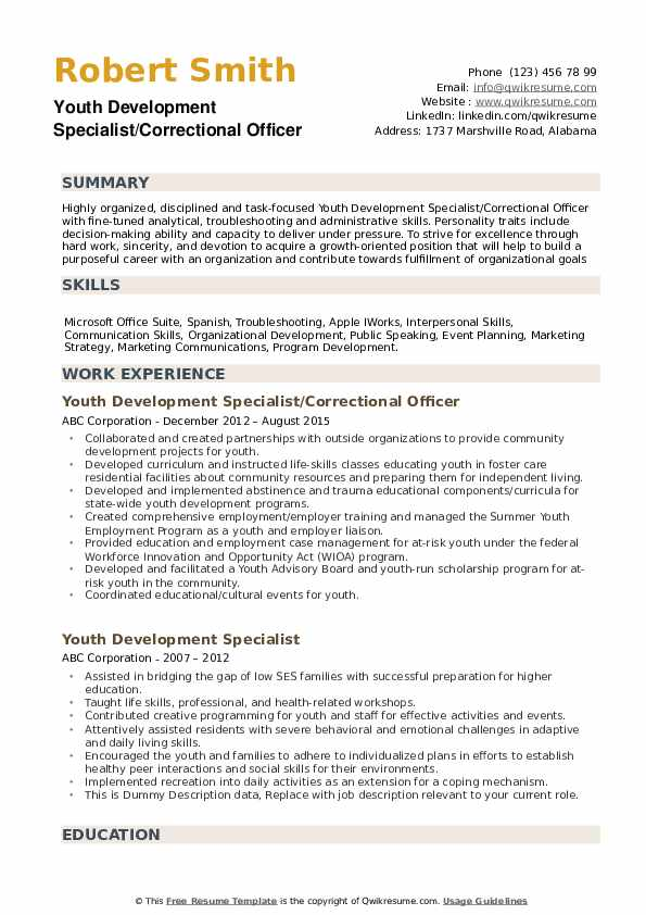 Youth Development Specialist/Correctional Officer Resume Sample