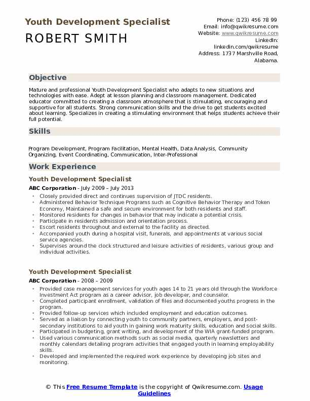 Youth Development Specialist Resume example