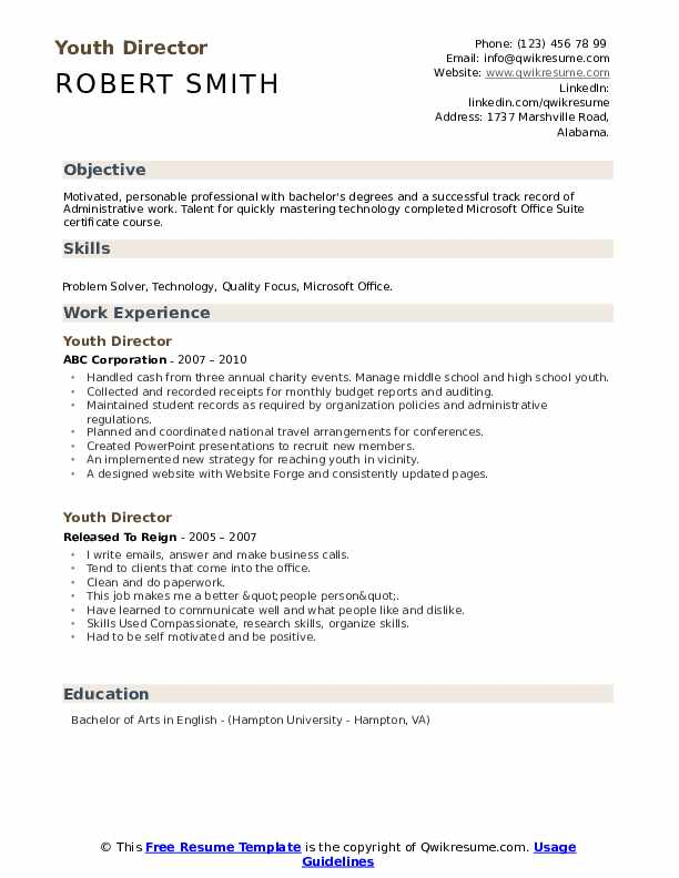 Youth Director Resume example