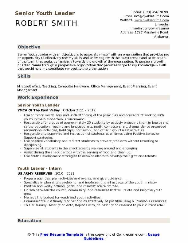 Senior Youth Leader Resume Format