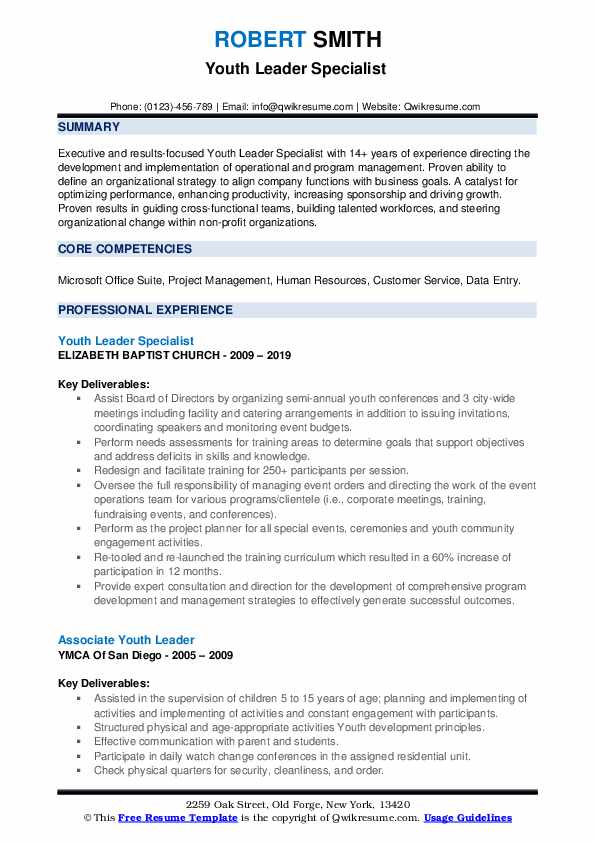 Youth Leader Specialist  Resume Sample