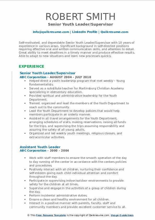 Senior Youth Leader/Supervisor Resume Model