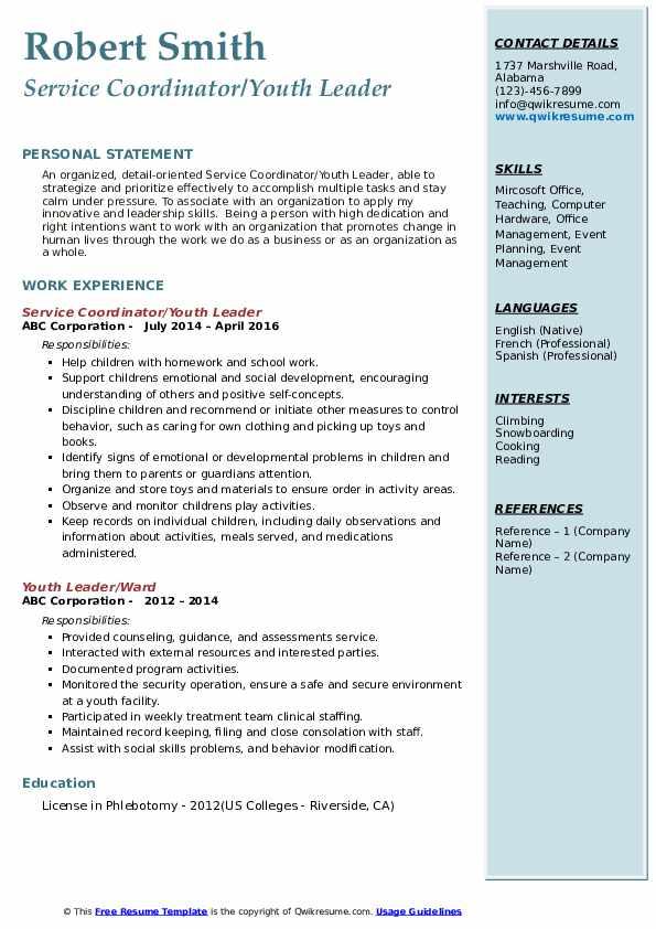 Service Coordinator/Youth Leader Resume Model