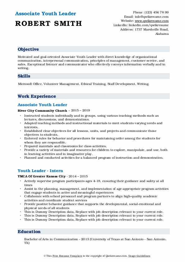Associate Youth Leader  Resume Template
