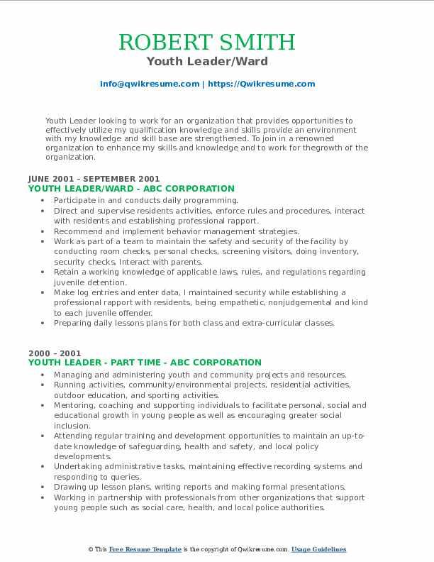 Youth Leader/Ward Resume Format