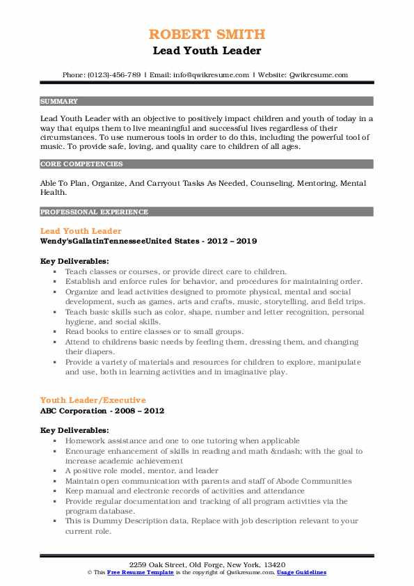 Lead Youth Leader Resume Format