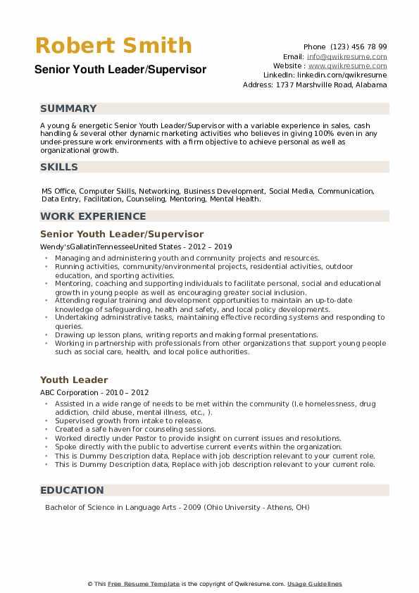 Senior Youth Leader/Supervisor Resume Sample