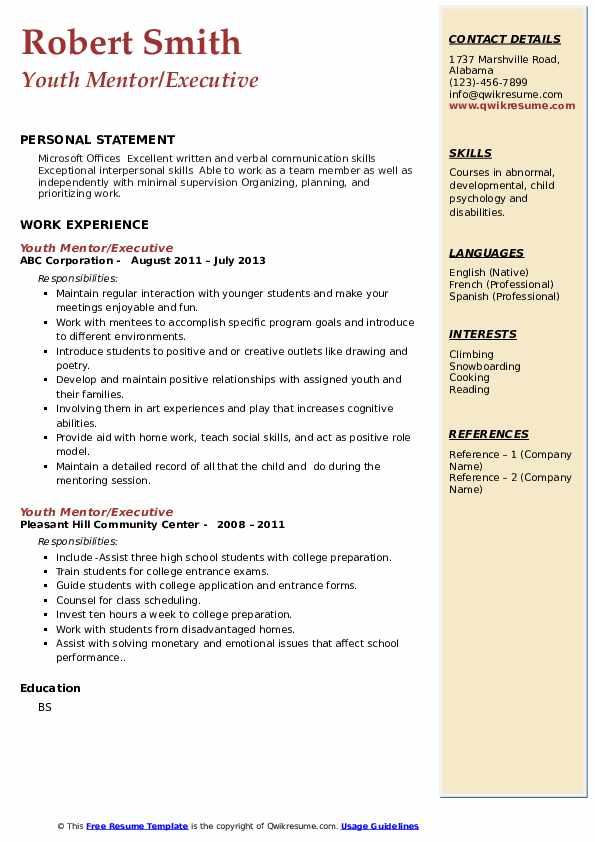 youth mentor resume samples