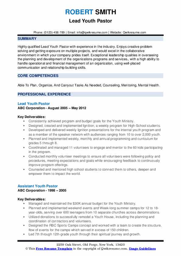 youth pastor resume samples