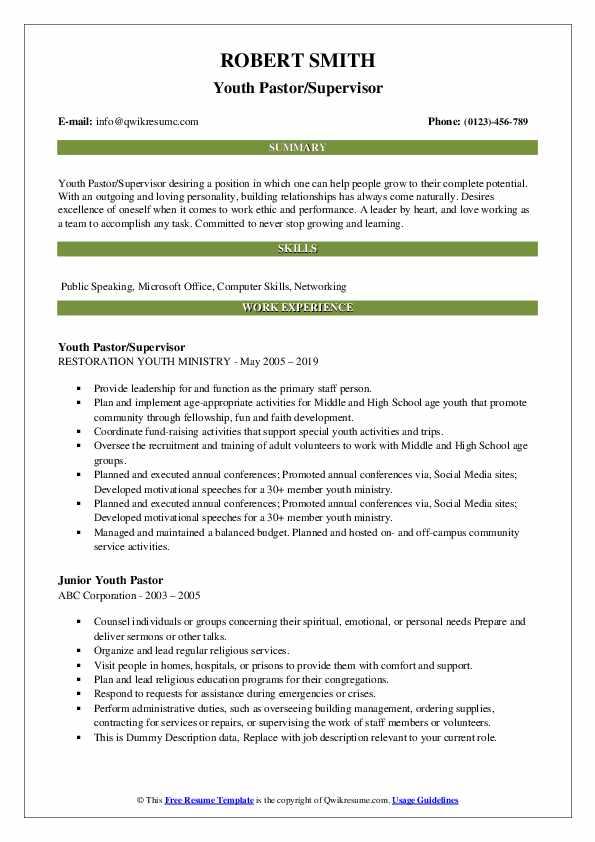 Youth Pastor/Supervisor Resume Model