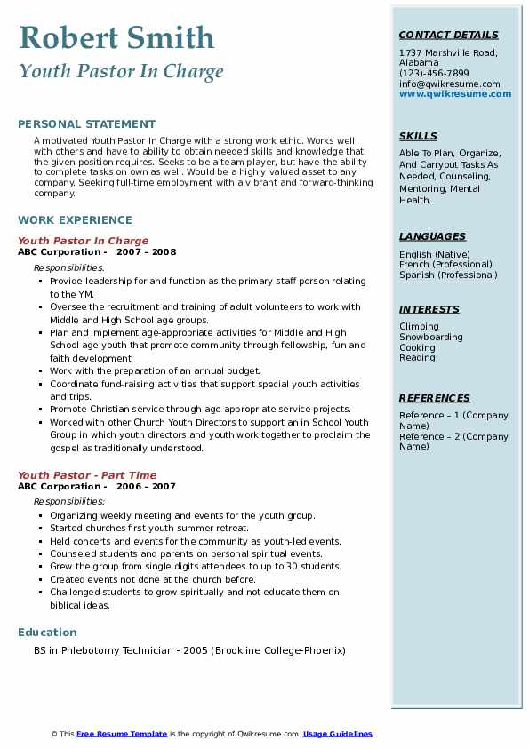 Youth Pastor In Charge Resume Format