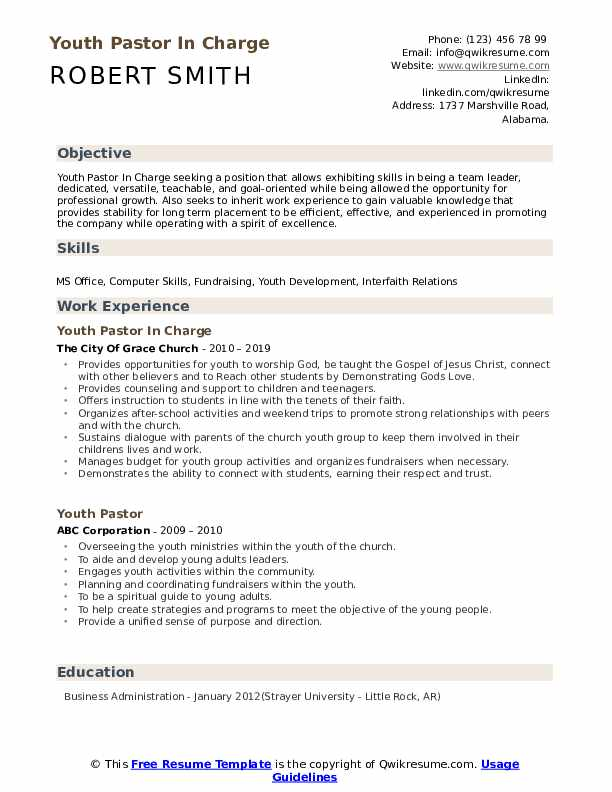 Youth Pastor In Charge Resume Sample