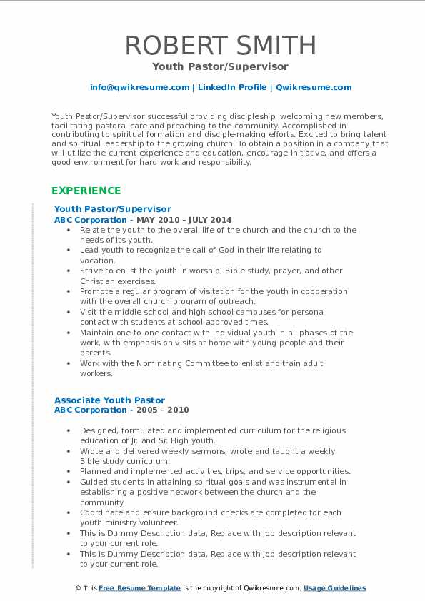 Youth Pastor Resume example