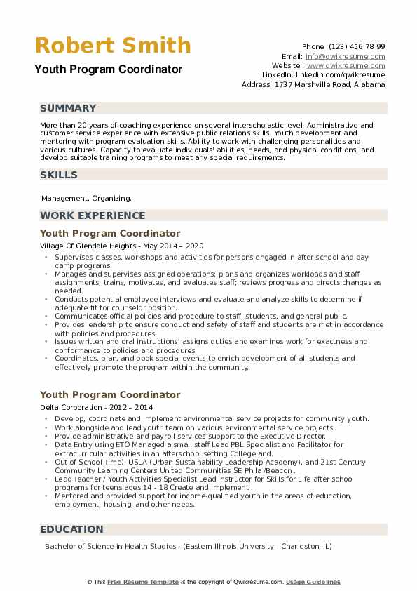 Youth Program Coordinator Resume example