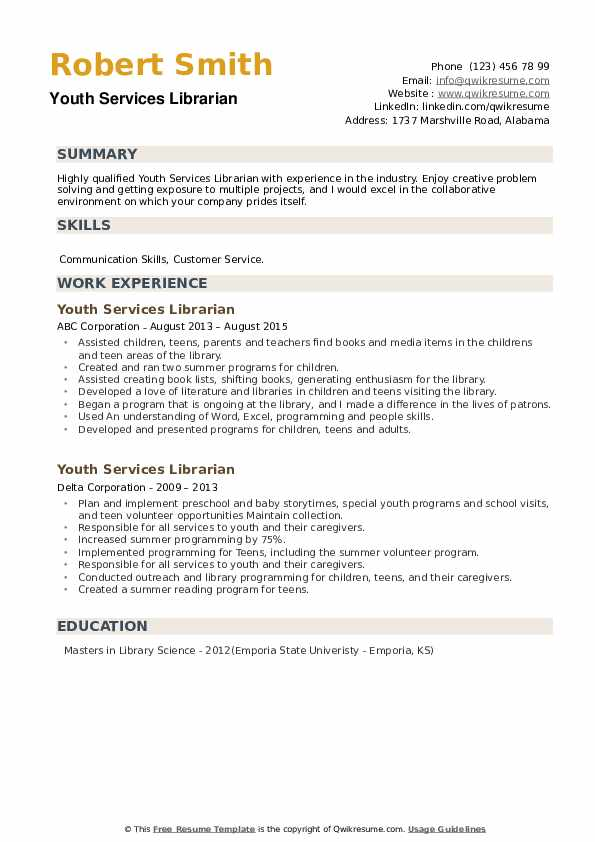 Youth Services Librarian Resume example