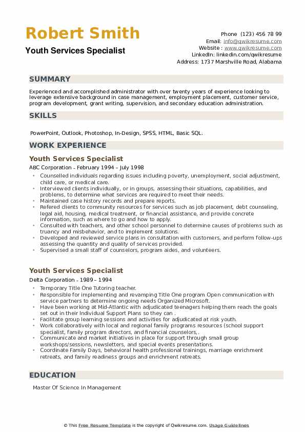 Youth Services Specialist Resume example